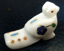 BIRD -GEMSTONE INLAID  WHITE MARBLE 376.10 CTS RT1664