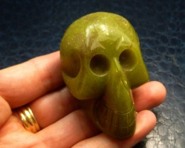 GREEN JASPER   GEMSTONE SKULL 604.90 CTS RT 1847