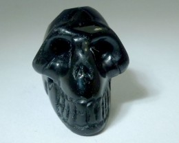 FACETED BLACK  OBSIDIAN   GEMSTONE SKULL27.35  CTS RT 1878