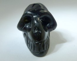 FACETED BLACK  OBSIDIAN   GEMSTONE SKULL 27.50  CTS RT 1883