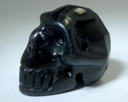 FACETED BLACK  OBSIDIAN   GEMSTONE SKULL 19.25 CTS RT 1884