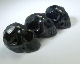 PARCEL OF 3 FACETED BLACK OBSIDIAN  SKULL 89.95  CTS RT 1886