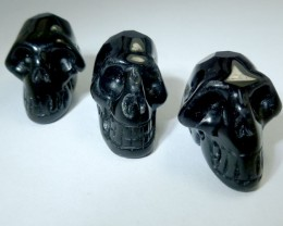 PARCEL 0F 3 FACETED BLACK  OBSIDIAN  SKULL 81.35 CTS RT 1887