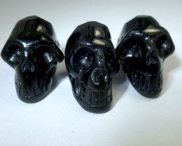 PARCEL OF 3 FACETED BLACK  OBSIDIAN  SKULL 84.90 CTS RT 1888