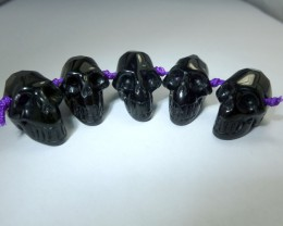 PARCEL OF 5 FACETED BLACK  OBSIDIAN  SKULL103.95 CTS RT 1892