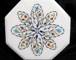 BEAUTIFUL MARBLE TOP INLAID GEMS DIAMETER 25.5CM  MS33