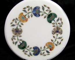 BEAUTIFUL MARBLE TOP INLAID GEMS DIAMETER 25.5CM MS34