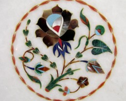BEAUTIFUL MARBLE TOP INLAID GEMS DIAMETER 25 CM MS35