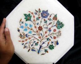 BEAUTIFUL MARBLE TOP INLAID GEMS DIAMETER 25 CM MS37
