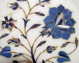 BEAUTIFUL MARBLE PLATE INLAID GEMS DIAMETER 15.5 CM MS50