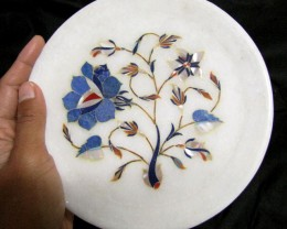 BEAUTIFUL MARBLE PLATE INLAID GEMS DIAMETER 15.5 CM  MS51