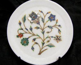 BEAUTIFUL MARBLE PLATE INLAID GEMS DIAMETER 15.5 CM MS52