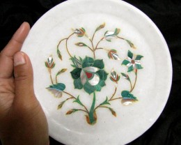 BEAUTIFUL MARBLE PLATE INLAID GEMS DIAMETER 15.5 CM  MS53