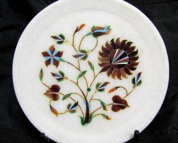 BEAUTIFUL MARBLE PLATE INLAID GEMS DIAMETER 15.5 CM MS54