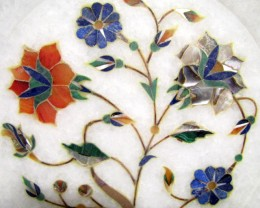 BEAUTIFUL MARBLE PLATE INLAID GEMS DIAMETER15.5 CM  MS56
