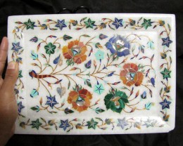 BEAUTIFUL MARBLE PLATE INLAID GEMS DIAMETER 25.5 CM MS59