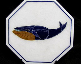 BEAUTIFUL MARBLE TILE WHALE INLAID GEMS DIAMETER 18 CM MS62