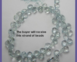 SPARKLING AA+ 6-6.5MM AQUAMARINE FACETED CUSHION BRIOLETTES!