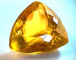 Flashy 12.29 Ct Natural Honey Calcite Trillion cut VS(A168)