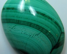 SIZABLE BANDED PATTERN MALACHITE CABOCHON STONE 43.25 CTS