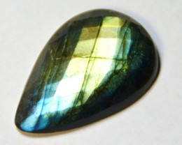 38mm drop shape faceted LABRADORITE cabochon 60 carat!