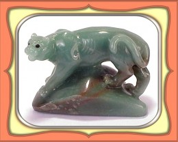 **718.5ct Chinese Green Aventurine Carved African Cat**