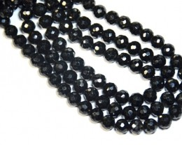 "7mm BLACK SPINEL round faceted beads AAA 8.5"" sprb01"