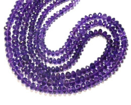 "Purple Amethyst faceted beads 5.5mm to 7mm 16"" line AA Grade"