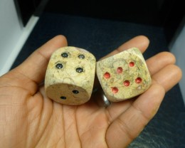 FREE SHIP 450CTS PAIR DICE IN MOROCCAN SEA FOSSIL MA 863
