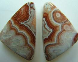 ROSETTA JASPER PAIR OF STONES GREAT PATTERNS 23.60 CTS