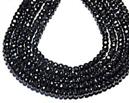 "14"" line 4.5mm AA BLACK SPINEL diamond polished beads"