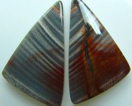 ZEBRA HICKORYITE PATTERN PAIR OF STONES 21.95 CTS