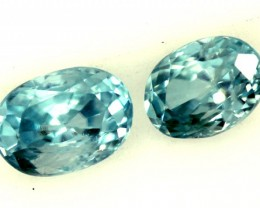 BLUE ZIRCON FACETED STONE  (2PCS) 1.85 CTS  PG-1195