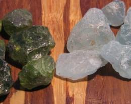 Ethiopia Peridot&Aquamarine Rough 100ct parcel of Each