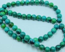 110 CTS AZURITE CHRYSOCOLLA ROUND BEADS STRAND 15 INCHES