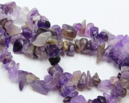 165 CTS 8-10 MM NATURAL AMETHYST CHIPS BEADS 16 INCHES