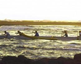 Hawaiian outrigger canoe.