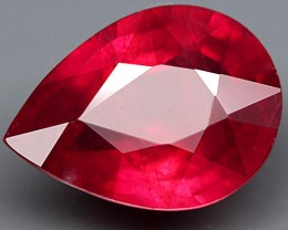 3.65 Carat Fiery Ruby Pear - Flashy Beauty
