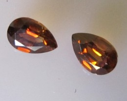 Australian Matching Orange Pear Shape Zircon, 1.44cts