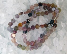 SPINEL MULTI COLOR COIN BEAD STRAND