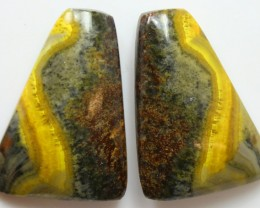 27.80 CTS MUSTARD JASPER PAIR CABOCHONS FROM INDONESIA