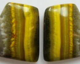 27.85 CTS MUSTARD JASPER PAIR CABOCHONS FROM INDONESIA