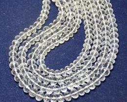 "8mm - 8.5mm white Diamond quartz faceted beads 15 - 16"" line"