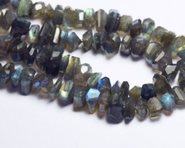 "SALE 10mm LABRADORITE blue rough cut faceted beads 9"" line"