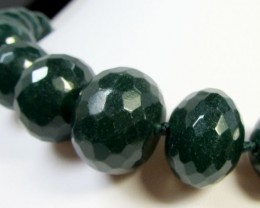 FACETED STRAND GREEN QUARTZ BEADS 46CM LENGTH  AGR 182