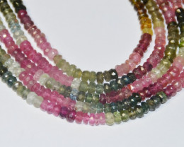 "watermelon TOURMALINE beads faceted 7"" half line 4mm AA+"