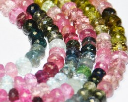 "SALE  AAA+ WATERMELON TOURMALINE Beads 4.5-5mm 7"" line tou018"