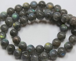 180 CTS LABRADORITE 1 STRAND OF BEADS 8 MM ROUND + CLASP