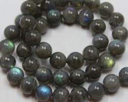 175 CTS LABRADORITE 1 STRAND OF BEADS 8 MM ROUND + CLASP