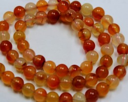 110CTS ORANGE CHALCENDONY BEADS 6 MM ROUND 1 STRANDS + CLASP